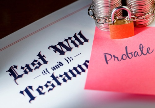 A last will with a sticky note that reads probate on it